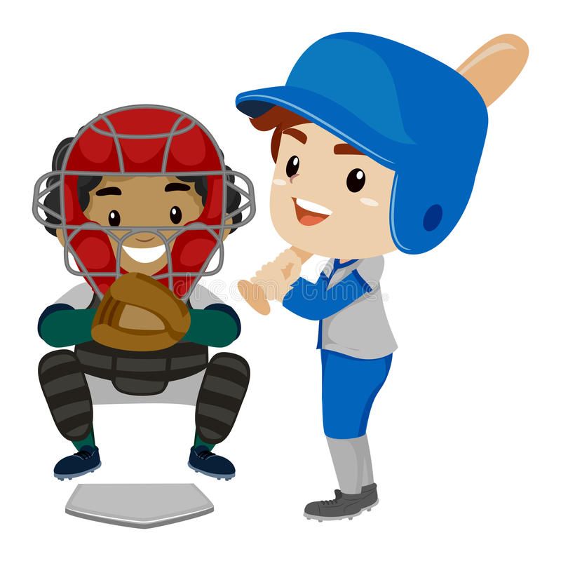 两个孩子当棒球运动员 皇族释放例证