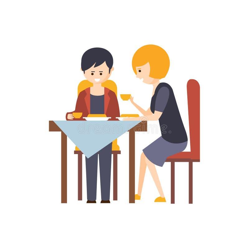 两个客人吃午餐在餐馆旅馆主题的原始动画片例证 皇族释放例证