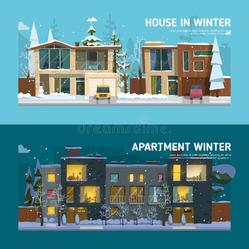 两个家庭房子和公寓横幅 向量例证