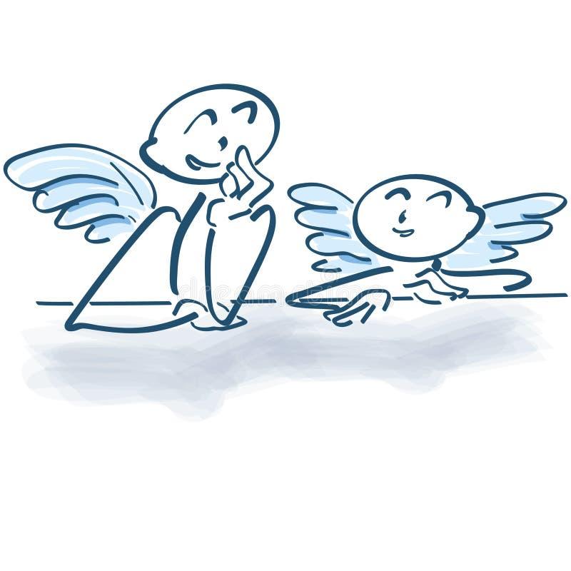 两个小的天使作为棍子计算 向量例证