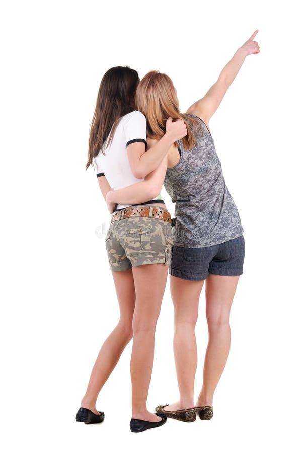 两个少妇背面图 库存图片