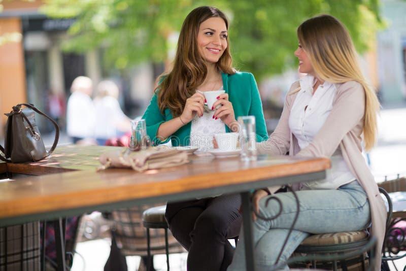 两个少妇说闲话在咖啡馆 图库摄影