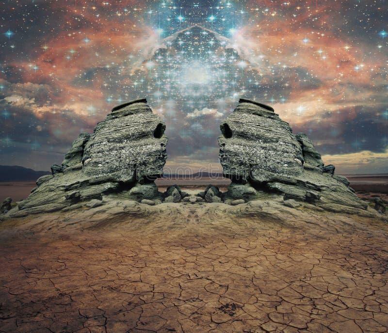 两个岩石在沙漠 库存图片