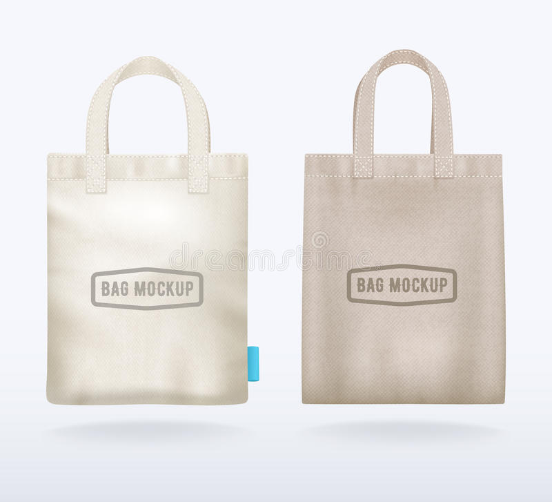 两个帆布大模型现实购物袋 向量例证