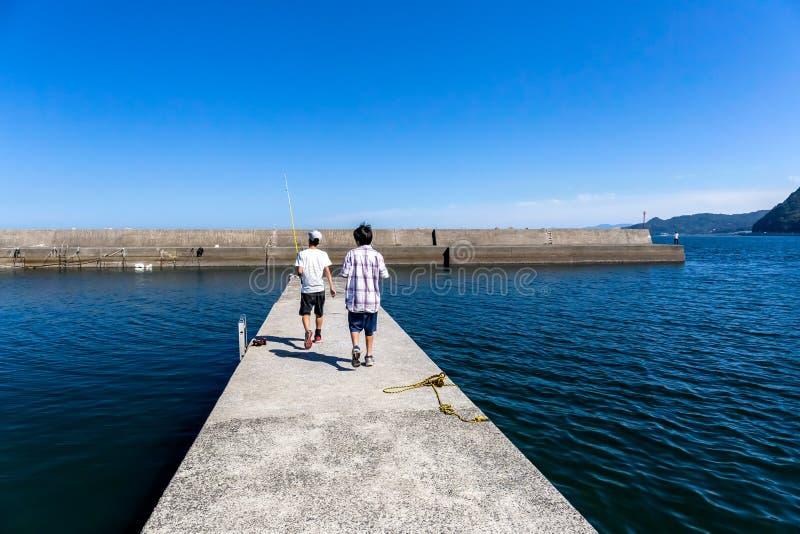 两个年轻人去钓鱼在码头 免版税图库摄影