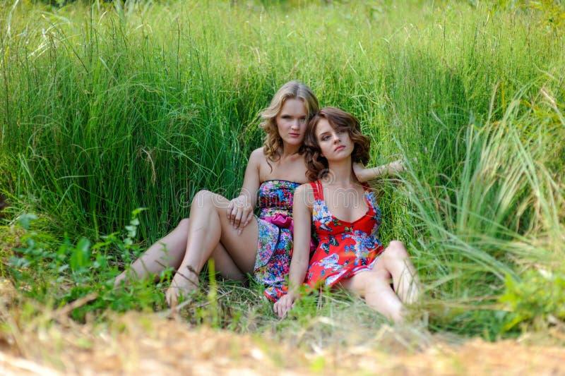 两个年轻白肤金发的女孩和棕色毛发的妇女摆在夏天的明亮的礼服的在高草停放 库存照片