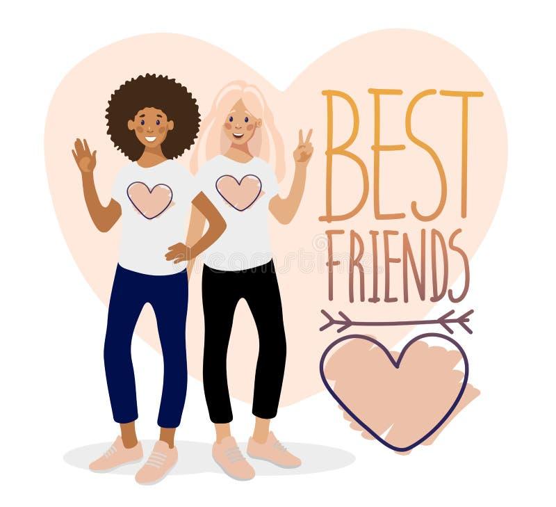 两个微笑的女孩、手拉的词组和心脏在白色背景 向量例证