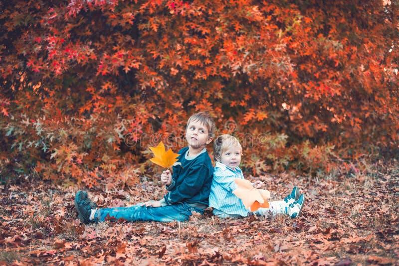 两个微笑的孩子在秋天公园 图库摄影