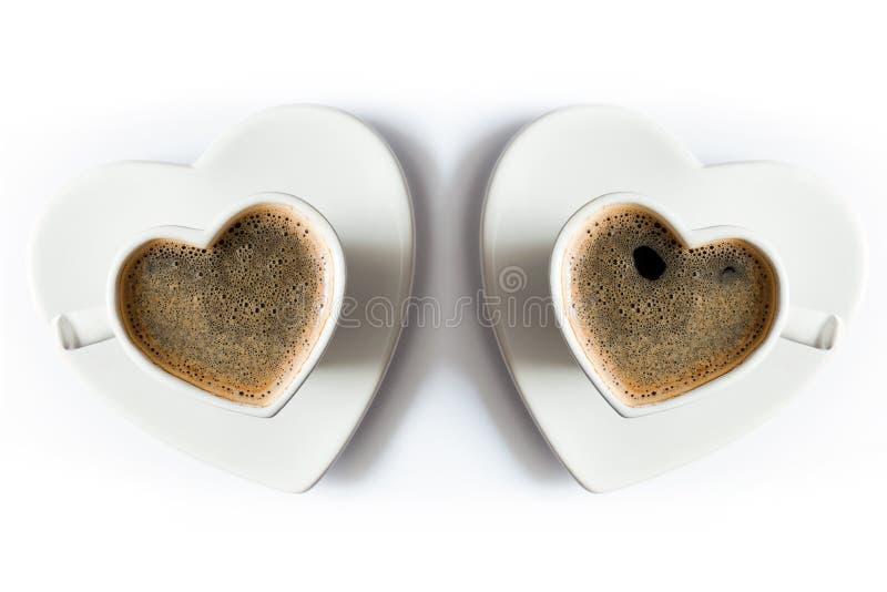两个心形的杯子无奶咖啡 免版税图库摄影