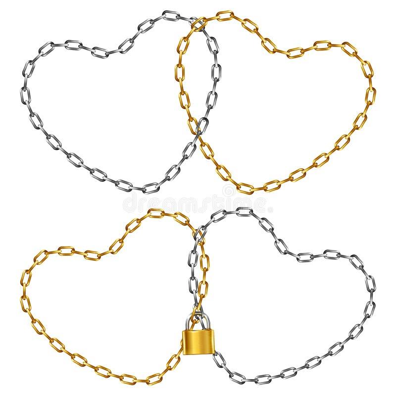 两个心形的被连接的链子 向量例证