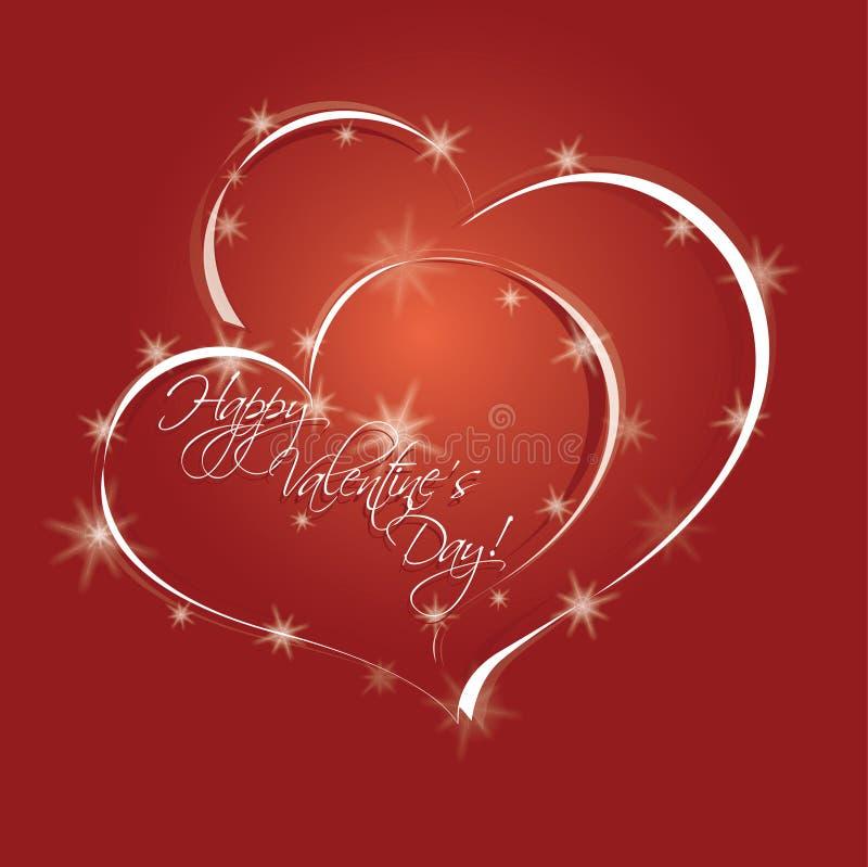 两个心脏和星 向量例证