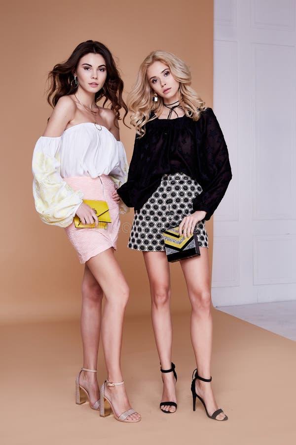 两个性感的白肤金发和深色的妇女朋友或敌手美好的fac 免版税库存图片