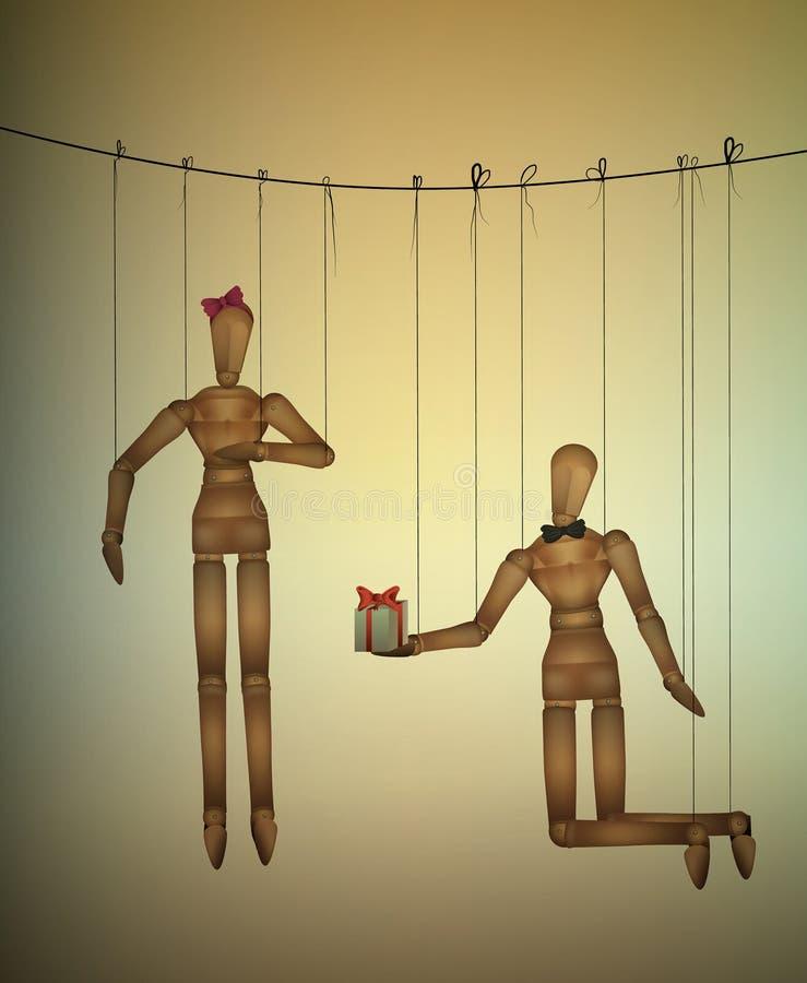 两个恋人概念,浪漫华伦泰牵线木偶,当前为您想法, 皇族释放例证
