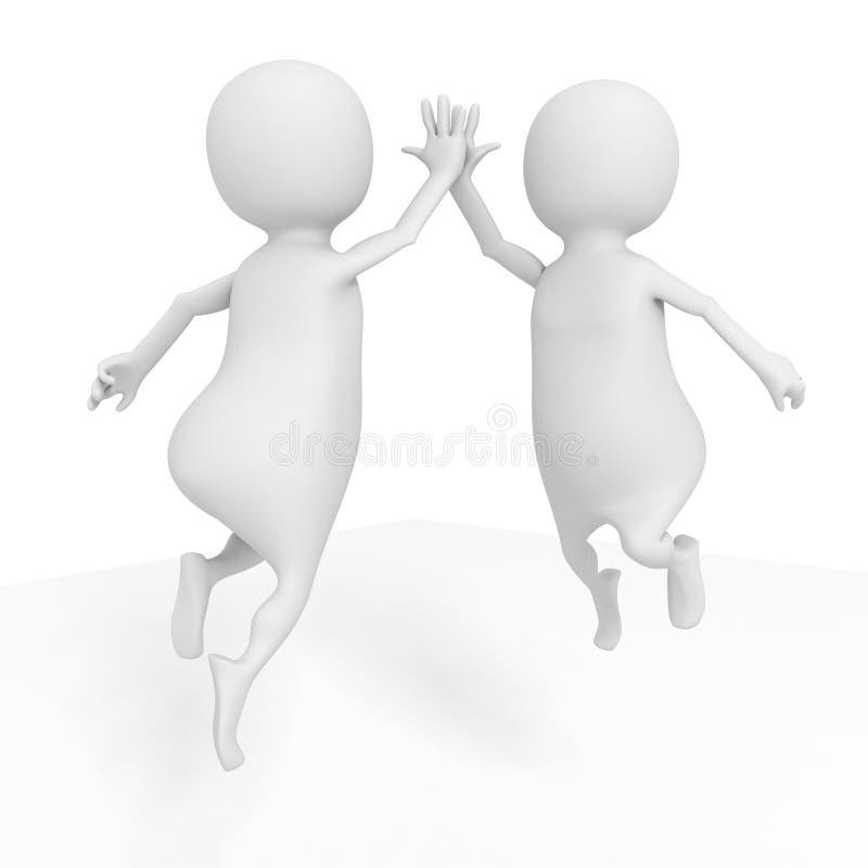两个愉快成功白色3d人跳跃 向量例证