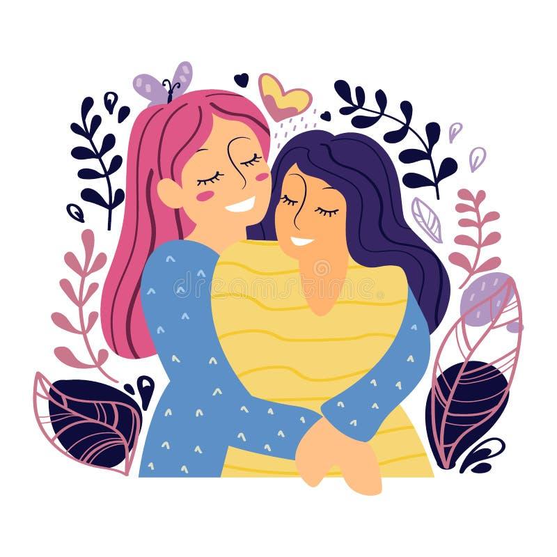 两个愉快的女孩紧紧拥抱并且微笑 r 皇族释放例证