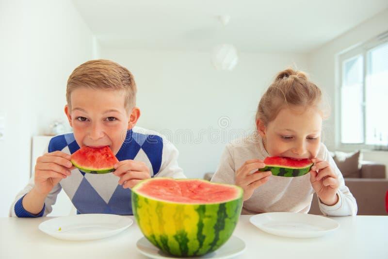 两个愉快的孩子吃甜西瓜和获得乐趣在明亮的客厅 库存图片