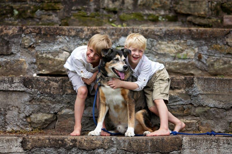 两个愉快的小男孩孩子爱恋拥抱他们的被采取的家庭狗 库存图片