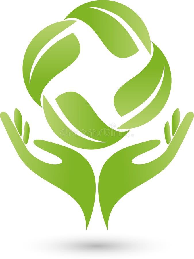两个手和叶子、植物、自然疗者和健康商标 向量例证