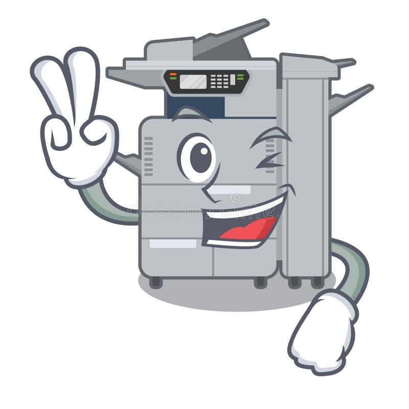 两个手指在动画片隔绝的影印机机器 皇族释放例证