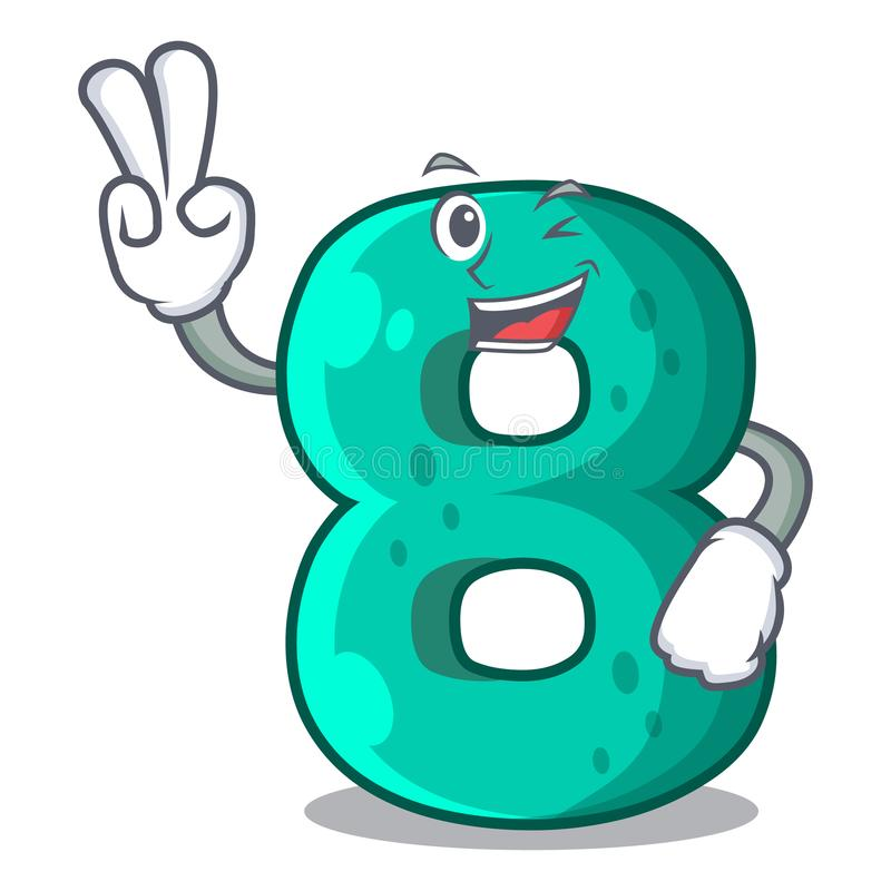 两个手指数字房子八形状的字符 向量例证