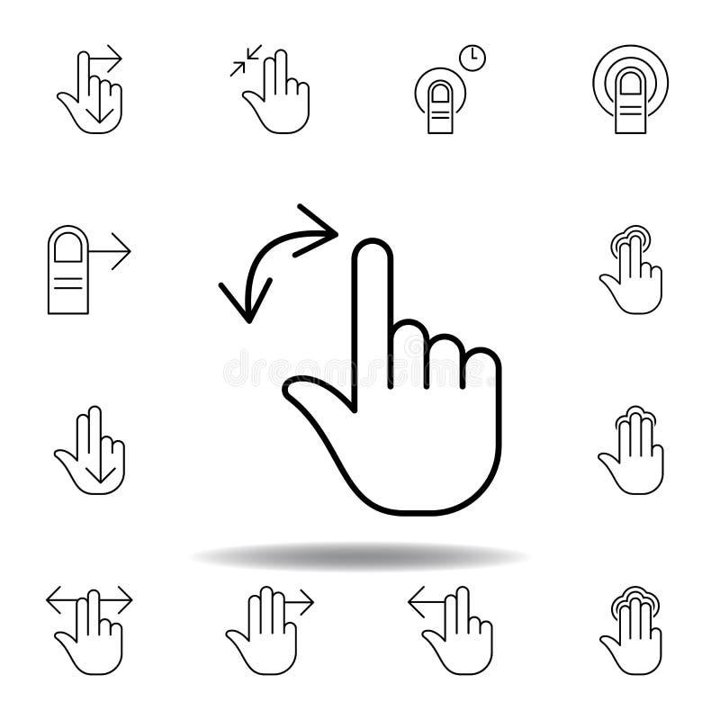 两个手指转动姿态概述象 设置手gesturies例证 r 皇族释放例证