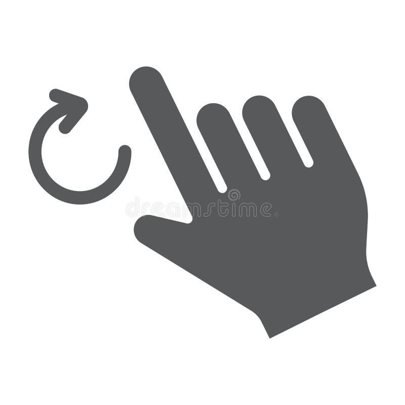 两个手指转动纵的沟纹象、姿态和手,转弯标志,向量图形,在白色背景的一个坚实样式 库存例证