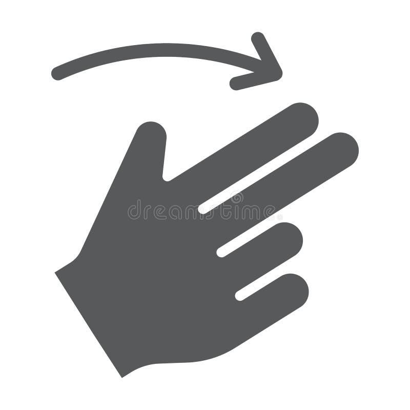 两个手指轻打右纵的沟纹象、姿态和手,重击标志,向量图形,在白色背景的一个坚实样式 皇族释放例证