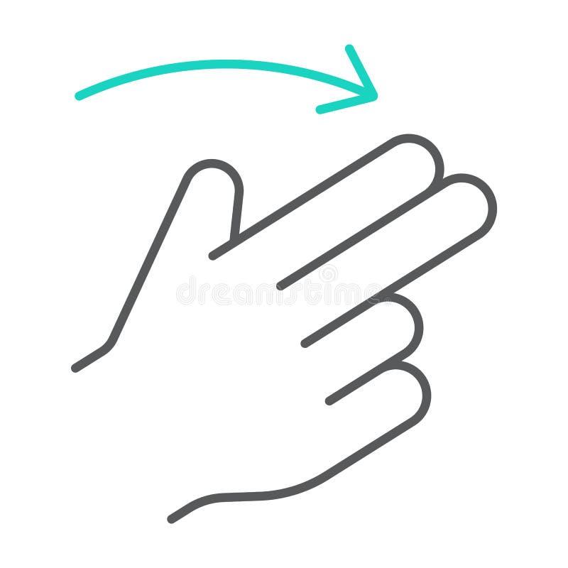 两个手指轻打权利稀薄的线象,姿态和手,重击标志,向量图形,在白色的一个线性样式 皇族释放例证