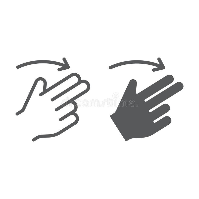 两个手指轻打正确的线和纵的沟纹象、姿态和手,重击标志,向量图形,在白色的一个线性样式 皇族释放例证