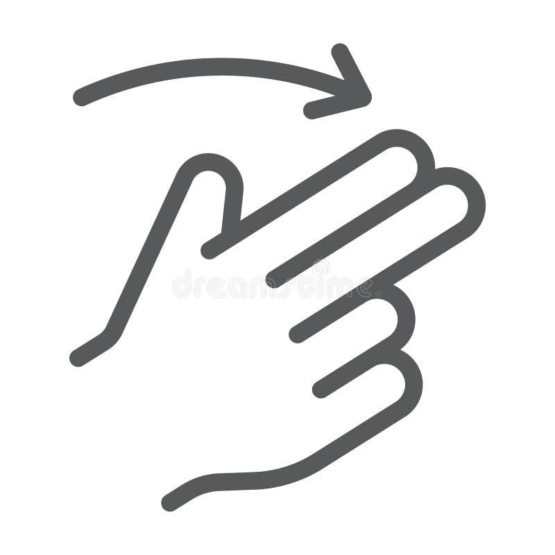 两个手指轻打正确的线象,姿态和手,重击标志,向量图形,在白色背景的一个线性样式 皇族释放例证