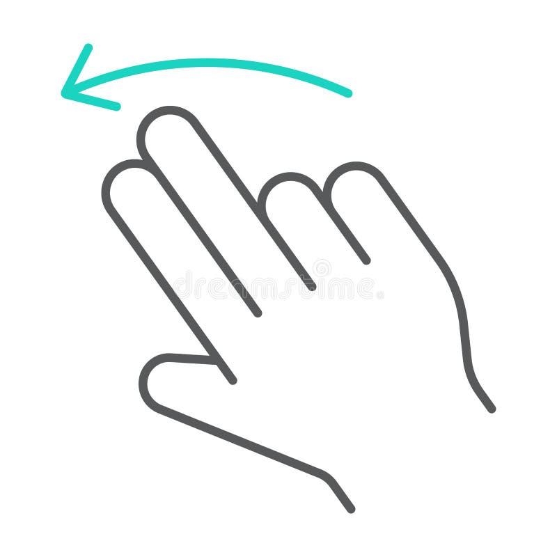两个手指轻打留下稀薄的线象,姿态和手,重击标志,向量图形,在白色的一个线性样式 皇族释放例证