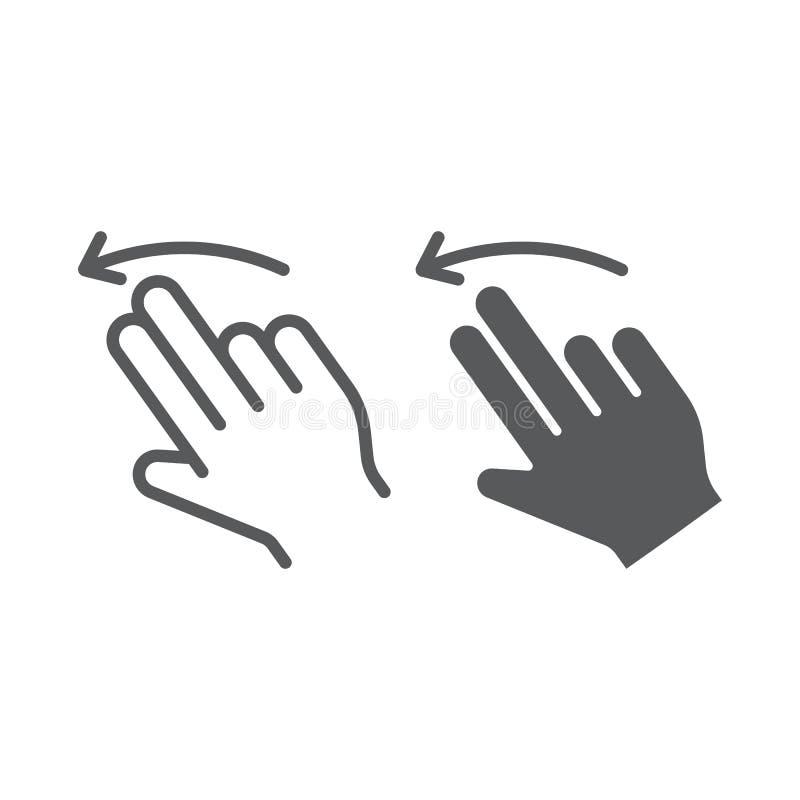 两个手指轻打留下线和纵的沟纹象、姿态和手,重击标志,向量图形,在白色的一个线性样式 向量例证