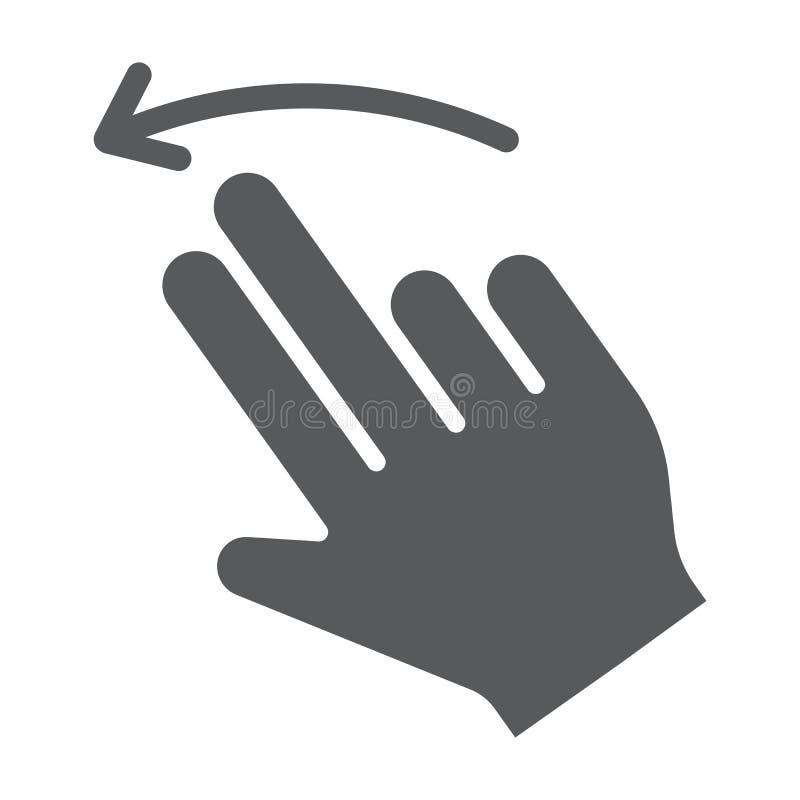 两个手指轻打被留下的纵的沟纹象、姿态和手,重击标志,向量图形,在白色背景的一个坚实样式 皇族释放例证