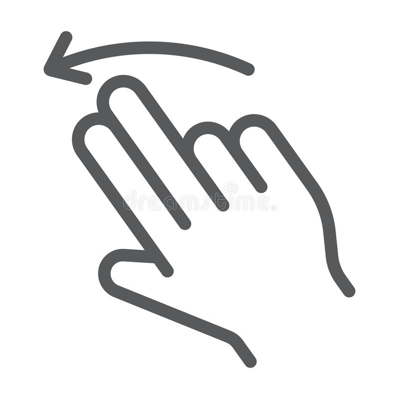 两个手指轻打被留下的线象,姿态和手,重击标志,向量图形,在白色背景的一个线性样式 库存例证