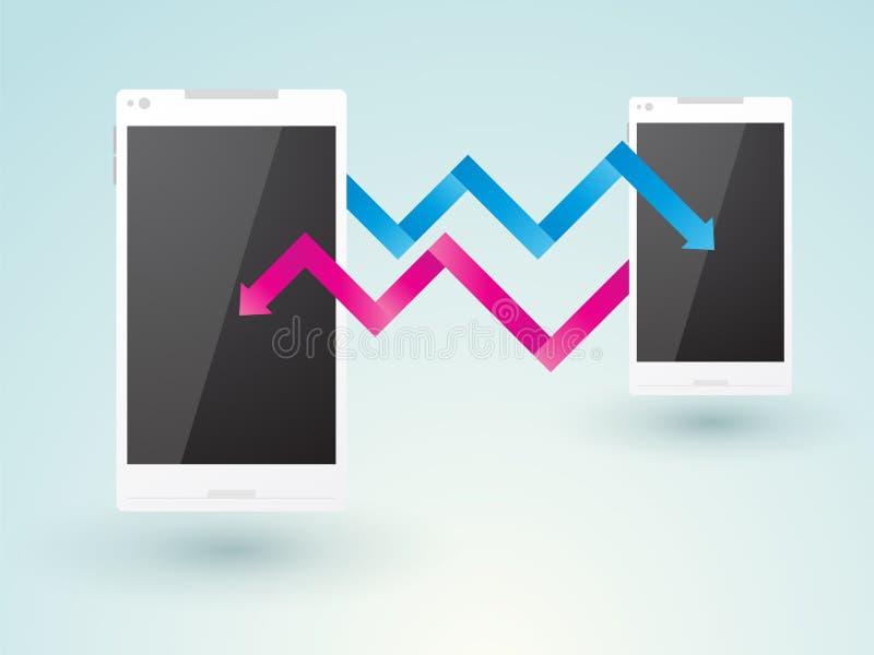 两个手机之间的通信 库存例证