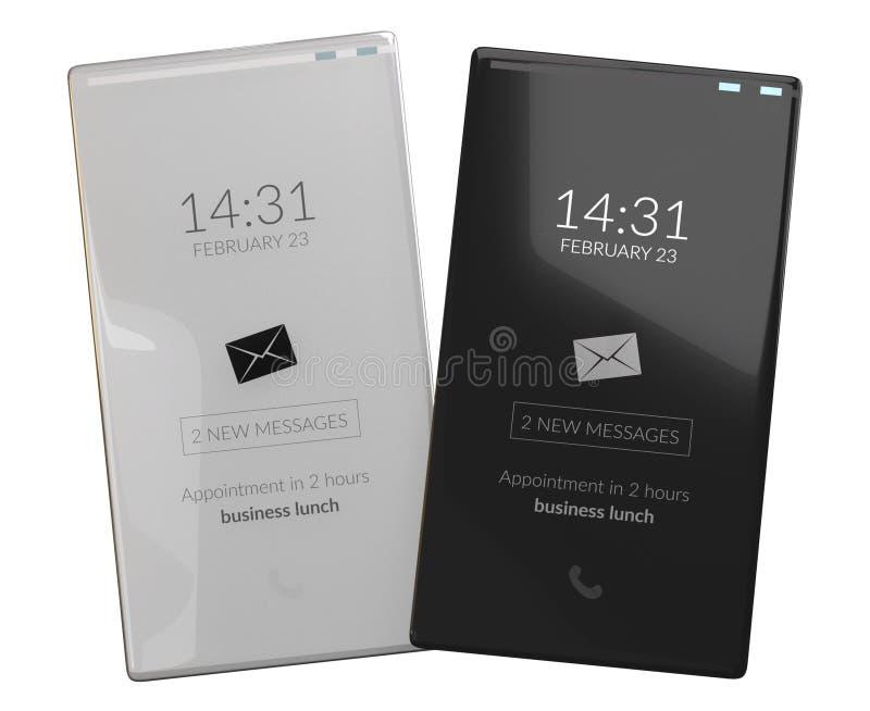 两个手机平的刃角少的设计3d例证 向量例证
