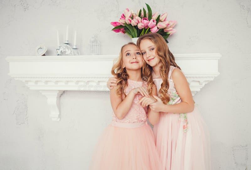 两个拥抱的逗人喜爱的小女孩 免版税库存照片