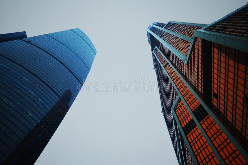 两个摩天大楼在莫斯科 莫斯科城市 免版税图库摄影