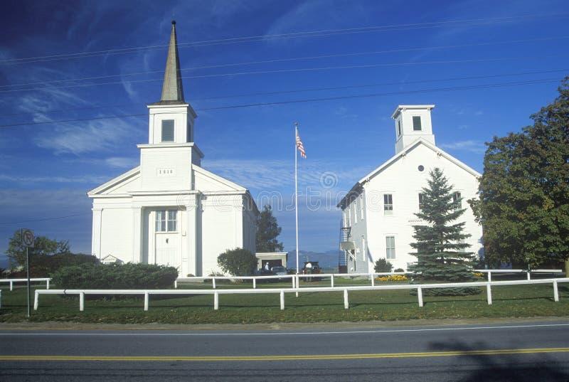 两个教会在Addison佛蒙特 免版税库存图片