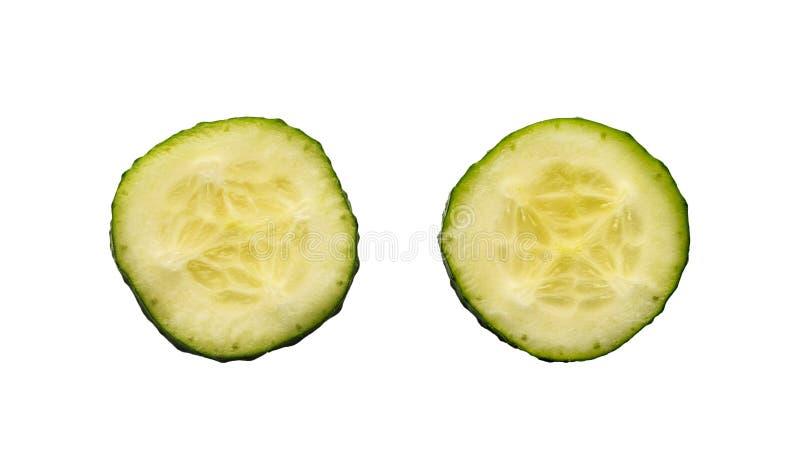 两个新切片黄瓜 免版税库存照片