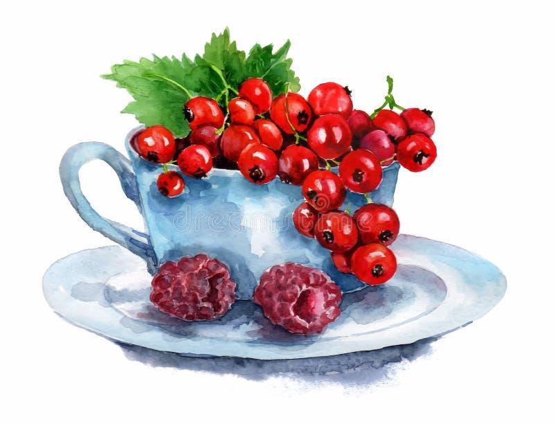 两个新月形面包用草莓和蓝莓在白色背景 向量例证