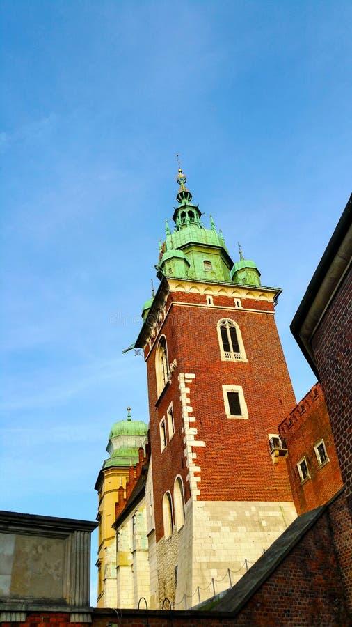 两个新生教堂圆顶在大教堂一边的Wawel小山的在克拉科夫波兰 库存照片