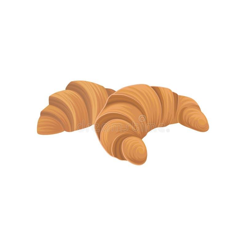 两个新鲜的新月形面包,被烘烤的油酥点心 平的动画片样式设计元素 海报、标签和菜单的面包制品 向量例证