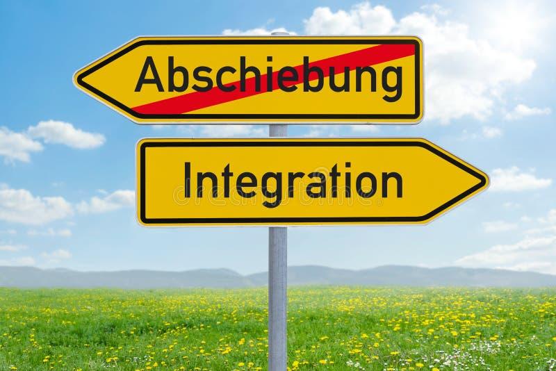 两个方向标-驱逐出境或综合化Abschiebung奥得河综合化德语 免版税库存图片