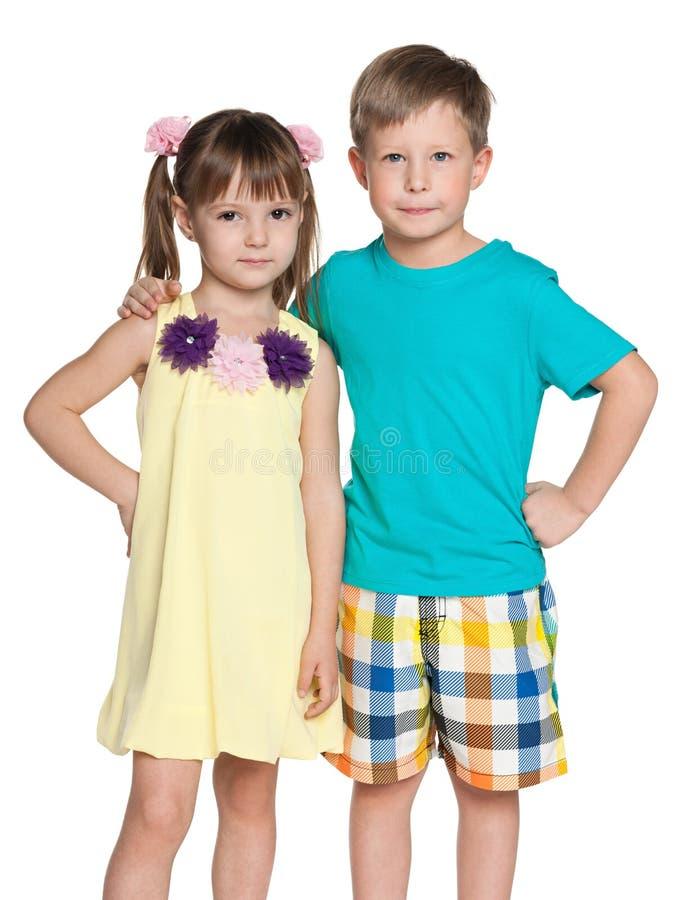 两个时尚小孩 免版税库存图片