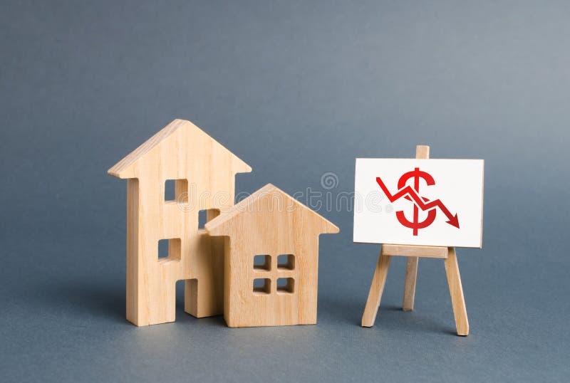 两个木房子和一张海报与下跌的价值的标志 不动产价值减退的概念 低流动资产 图库摄影