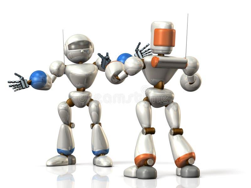 两个机器人分享信息 库存例证