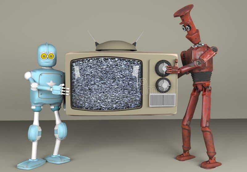 两个机器人藏品televizion,3d,回报 库存例证