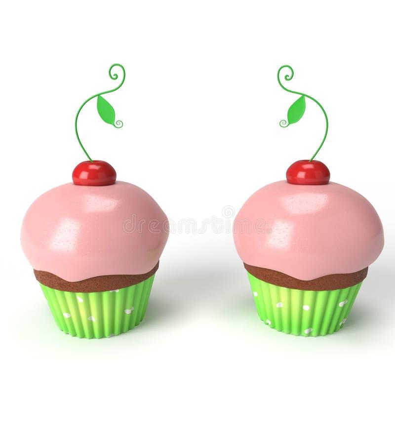 两个杯子蛋糕用樱桃 免版税库存图片