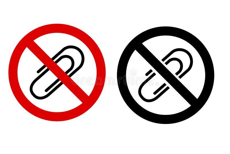两个样式重线象禁止了标志,没有纸夹 库存例证